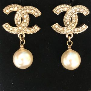 Chanel Pre-Authenticated CC Crystal Drop Earrings